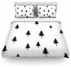 suzanne carter pine tree black white duvet cover cotton queen contemporary