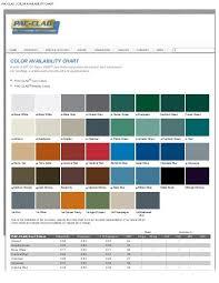 Pac Clad Metal Color Chart Pac Clad Color Availability Chart