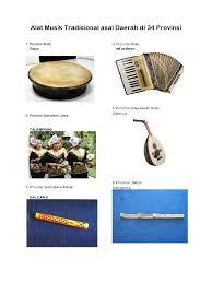 34.alat musik tradisional papua barat. Alat Musik Tradisional Asal Daerah Di 34 Provinsi Docx