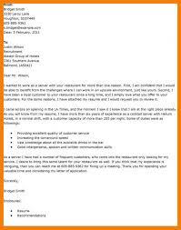 Cover Letter Restaurant Example 8 9 Restaurant Server Cover Letters Tablethreeten Com