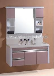 High quality pvc wall hanging washbasin cabinet design with side cabinet