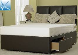 5ft king size divan bed base in brown faux leather zoom