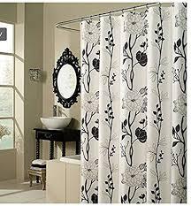 Image Tiles Amazoncom Black And White Flower Fabric Shower Curtain