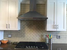 Subway Tile Kitchen Backsplash Khaki Glass Subway Tile Kitchen Backsplash With Custom Accent
