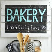 Diy Kitchen Wall Art Farmhouse Kitchen Vintage Wood Bakery Sign