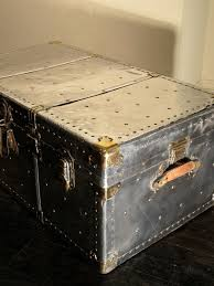 1930s polished steel travel trunk coffee table