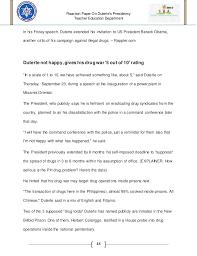 reaction paper in president rodrigo duterte administration 14 reaction paper