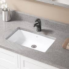 vitreous china rectangular undermount bathroom sink with overflow and drain assembly
