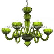 redentore 6 lights murano chandelier green color