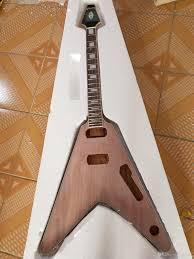 unfinished guitar neck and flying v diy electric guitar kit