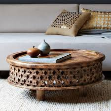 carved wood coffee table 349