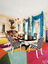 colorful geometric rug black white dining chairs room pillar table black laquered finish better decorating