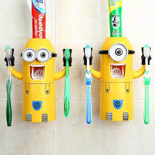 Cute Cartoon Toothbrush Holder <b>Automatic Toothpaste Dispenser</b> ...