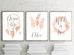 impressive idea boho wall art simple design decor set of 3 nursery prints girls peach watercolor on chic wall art set with boho wall art japs fo