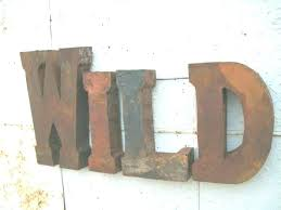 large rustic metal letters for wall good photo decorative vintage decor