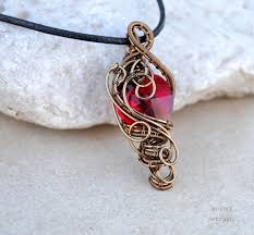 red crystal heart wire wrapped pendant by ianirasartifacts dcgru how to wire wrap crystals
