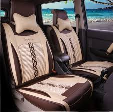 59 39 natrual beige leather net cloth front single seat universal car seat covers best car