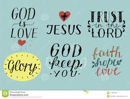 Set Of 6 Hand Lettering Christian Quotes With Symbols God Is Love