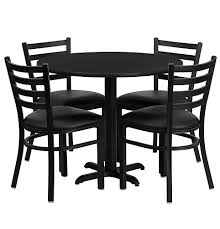 36 inch round black laminate dining table set with 4 black chairs of1hd1029 gg