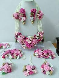 Pink & White Artificial Flower Jewelry <b>Bridal Bride bridesmaid</b> Floral ...