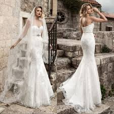 sexy lace mermaid wedding dresses 2017 strapless applique beaded
