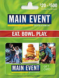 Min Event Amazon Com Main Event Entertainment Gift Card 25 Gift Cards