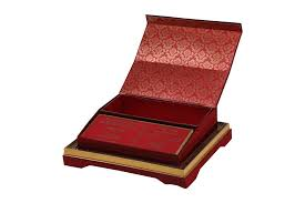 wedding card in rich maroon, golden & sweet box Wedding Card With Sweet Box muslim wedding card in rich maroon, golden & sweet box indian wedding cards with sweet box