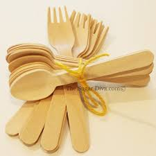 wooden spoons and forks 10 each