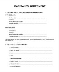 Motor Vehicle Sale Agreement Sale Agreement Forms Magdalene Project Org