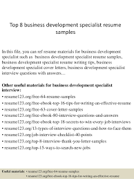 Top 8 business development specialist resume samples In this file, you can  ref resume materials ...