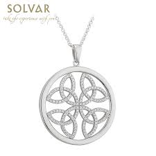 celtic pendant sterling silver circle trinity knot necklace