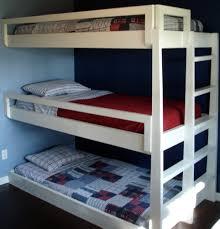 Chic Kids Small Bedroom Designs With White Painted Wooden Triple Bunk Bed  Added Stairs As Well As Blue Wall Painted Color Schemes