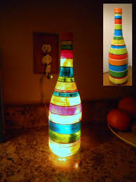 illuminate diy table lamp from wine bottle colorful decoration