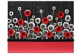 red and black wall art poppy flower painting canvas small