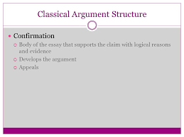 using soapstone and rhetorical appeals persuasion and argument  10 classical argument structure confirmation  body of the essay that supports the claim logical reasons and evidence  develops the argument 