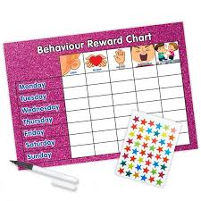 Re Usable Behaviour Reward Chart Including Free Stickers And Pen Pink Glitter Design