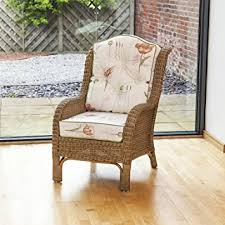 alfresia denver wicker reading chair with luxury on back cushion poppies stone