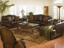 Brown leather sofa sets Country Style Traditional Living Room Furniture Brown Leather Sofa Couch Loveseat Set ig0g Ebay Soflex Leather Sofa Sets Ebay