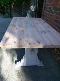 farmhouse style solid pine kitchen dining: rustic pine farmhouse refectory kitchen dining table stone white distr
