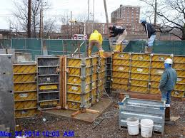 pouring concrete at monumental stairs
