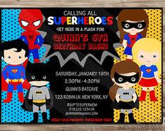 superheroes party invites superhero birthday invitation boys and girls by sewkawaiikids
