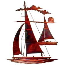 24 catch n sail floating sailboat metal wall art