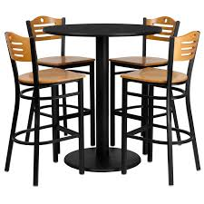36 round high top restaurant cafe bar table and wood seat stool chair set
