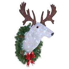 Outdoor Lighted Moose The Holiday Aisle Pre Lit Wall Mounted Buck Lighted Display