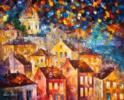 afremov original oil painting palette knife impressionist impressionism surreal surrealism city painting art purchase painting