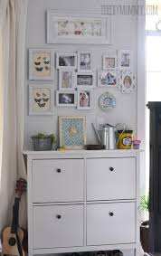 Decorating black shoe cabinet with doors pictures : An Ikea shoe cabinet with a gallery wall | Favorites | Pinterest ...