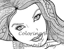 Mooi Meisje Kleurplaat Vrouw Gezicht Volwassene Foto Etsy