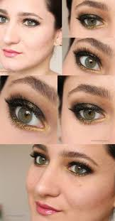 35 glitter eye makeup tutorials black gold smokey eye makeup step by step