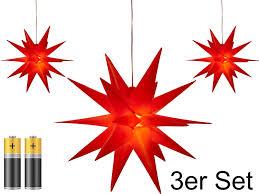 3er Pack 3d Leuchtstern Weihnachtsstern Warm Weiß