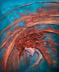 ophelia acrylic painting 3d by annabulka